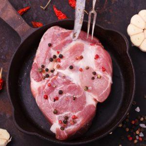 Raw pork steak neck